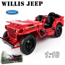 Welly 1:18 Jeep Willys Us Army Military Model Diecast Car Collection W/Case Toy