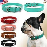 USA Adjustable Small Pet Dog Cat Collar Puppy Multi-color PU Leather Collars