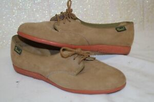 * Vintage Bass Tan Suede Womens Oxford Shoes 6-6.5
