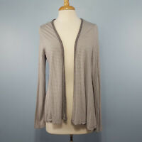 Old Navy Women's Open Front Cardigan Striped Gray Sweater Size L Long Sleeve