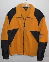 Vintage Woolrich American Flag Full Zip Yellow Black Fleece Jacket Men's Medium