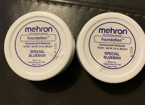 Set Of 2 Mehron Foundation Greasepaint Special Blueman 2.8oz each New