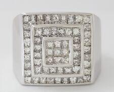 2 ct 14K White Gold Men's Princess Cut Diamond Fashion / Wedding Men's Ring