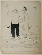 Dibujo Antiguo Tinta Ilustración Divertido Isla JICKA Jacques Kalaydjian 1950