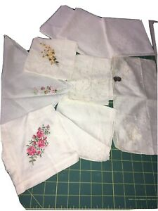 Lot Of 10 Vintage Ladies Hankies White & Off White  Desco some floral embroidery