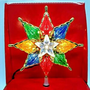 Light Up Christmas 8 Point Star Tree Topper 8 inch Multi Color