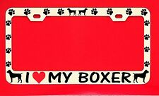 I Love My Boxer /s Chrome License Plate Frame Tag Dog Paw Weatherproof Vinyl