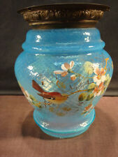 Unusual Blue Glass Hall Shade - Birds and Flowers
