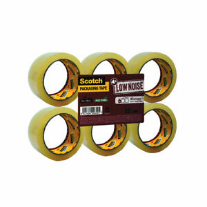 NEW! Scotch Packaging Tape Low Noise 48mmx66m Clear Pack of 6 3707
