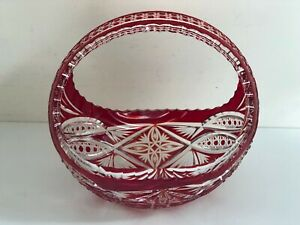 Fabulous Vintage Czech Bohemian Red Cut To Clear Crystal Glass Basket Bowl