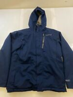 MERRELL MEN SIZE LARGE OPTI SHELL WARM BLUE INSULATED HOODED FULL ZIP JACKET EUC