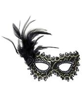 Masquerade Mask Ball New Years Party Black Feather Rose Gold