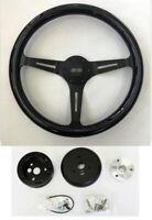 "Chevelle El Camino Nova Blackk Wood Steering Wheel on Black Spokes 15"" SS cap"