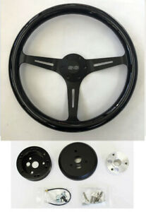 "Chevelle El Camino Nova Black Wood Steering Wheel on Black Spokes 15"" SS cap"