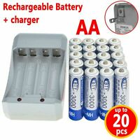 4-20pcs AA/AAA 1.2V 1000 3000mAh Ni-MH BTY Cell Rechargeable Battery + Charger