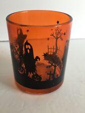 """Halloween Designed Glass 2 3/4"""" D Tea Light Candle Holder 3.5""""T Orange Black"""