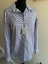 Bariloche fitted equestrian style blue cotton shirt, BNWT, rrp £69 UK 10/ FR 40