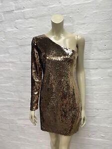 Z17 Topshop Gold Sequin Dress One Shoulder BNWT Size 12