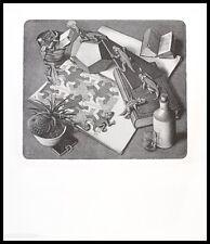 MC Escher Reptilien Poster Kunstdruck mit Alu Rahmen in schwarz 65x55cm