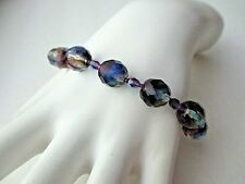 Purple, Blue & Yellow Faceted Glass Bracelet jewelry Free Ship