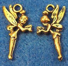 50Pcs. WHOLESALE Tibetan Antique Gold ANGEL Fairy Charms Pendant Ear Drops Q0053