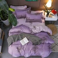 Purple Printing Bedding Set Duvet Quilt Cover+Sheet+Pillow Case Four-Piece New