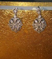 Simply Vera - Vera Wang Sterling Silver CZ Art Deco Style Dangle Earrings New