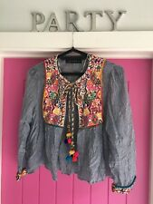 Zara Striped Boho Jacket. Pom Pom Tie. Embroidered Front. Festival