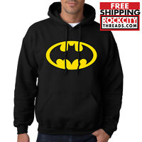 BATMAN LOGO HOODIE Dark Knight Hooded Sweatshirt Joker Robin Symbol DC Comics