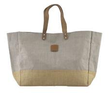 House Doctor Shopper Jute hellgrau Bag Tasche Einkaufstasche Ledergriffe Strand