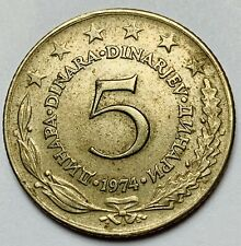 YUGOSLAVIA SFR JUGOSLAVIJA 5 DINARA DINARJEV 1974 CIRCULATED WORLD COIN