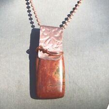 Picasso Jasper Dog Tag Pendant Necklace Copper Natural Gemstone Handmade Unisex