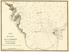 Plan du golfe de Saint-Florent. CORSE CORSICA. Gauttier 1851 old antique map