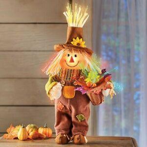 Fiber Optic Fall Harvest Boy Scarecrow Halloween Tabletop Centerpiece Decoration