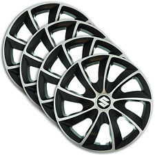 "Hub Caps 15"" SUZUKI Swift Baleno Splash 4x Wheel Trim Cover SILVER+BLACK QUAD"