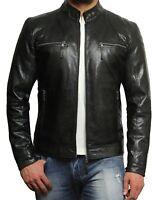 Brandslock Men Leather Jacket Fitted Zipped Pocket Genuine Cafe Racer Jacket