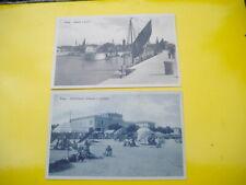 2 CARTOLINE DI FANO-PESARO,ANIMATE, SPIAGGIA E PORTO, DATATE 1936, NON VIAGGIATE