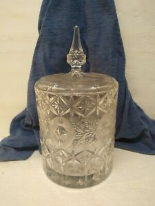Heavy Lead Crystal Cut Glass Cookie Biscuit Jar Barrel / Ice Bucket / Candy Dish