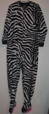 NICK & NORA FLEECE ZEBRA PRINT FOOTED ONE PIECE PAJAMA SIZE L
