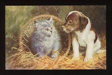 Animals PUPPIES KITTEN Artist Can't We Be Friends PPC WW2 patriotic message