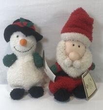 """Vintage 1990s Russ Home Buddies Terry Cloth Santa and Snowman Beanie plush 6.5"""""""