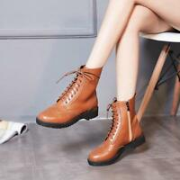 Womens Brogue Carved Leisure Shoes Lace Up Zip Block Heel Round Toe Ankle Boots