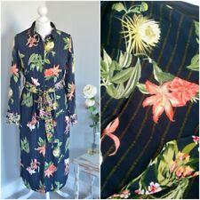 MARKS & SPENCER M&S Collection Blue botanical floral shirt dress UK 6 PETITE