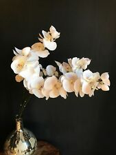 5 Off White Artificial Orchid Flower Stems Realistic Faux Silk Cream Ivory Pink