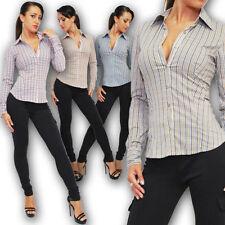Figurbetonte Langarm Damenblusen, - tops & -shirts mit Button Down-Kragen