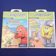 2 Leap Frog Games~Leapster 1 & 2~Clifford Reading Spongebob Saves Day Math Money