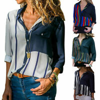 Damen Langarm Gestreift Hemden Shirts Lose  Freizeit Hemd Hemdbluse Oberteil Top