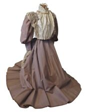 Lovely Lace Lavished Taupe Twill Victorian Museum Dress -VG+ condition- Wearable