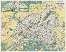 Amsterdam City Map from 1927 Vintage Print Poster (Cornelius Löwe)