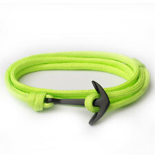 Men's Multilayer Black Anchor Bracelets Polyester Rope Wrap Around Bangle Viking